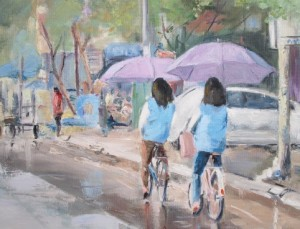 oil-schoolgirls-in-rain-bria.a.collins